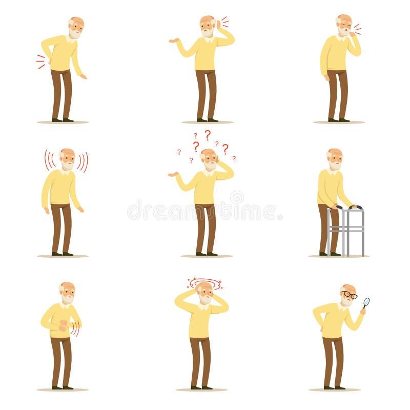 Doenças do homem, da dor do problema parte traseira dentro, pescoço, braço, coração, joelho e cabeça idosos Grupo superior da saú ilustração royalty free