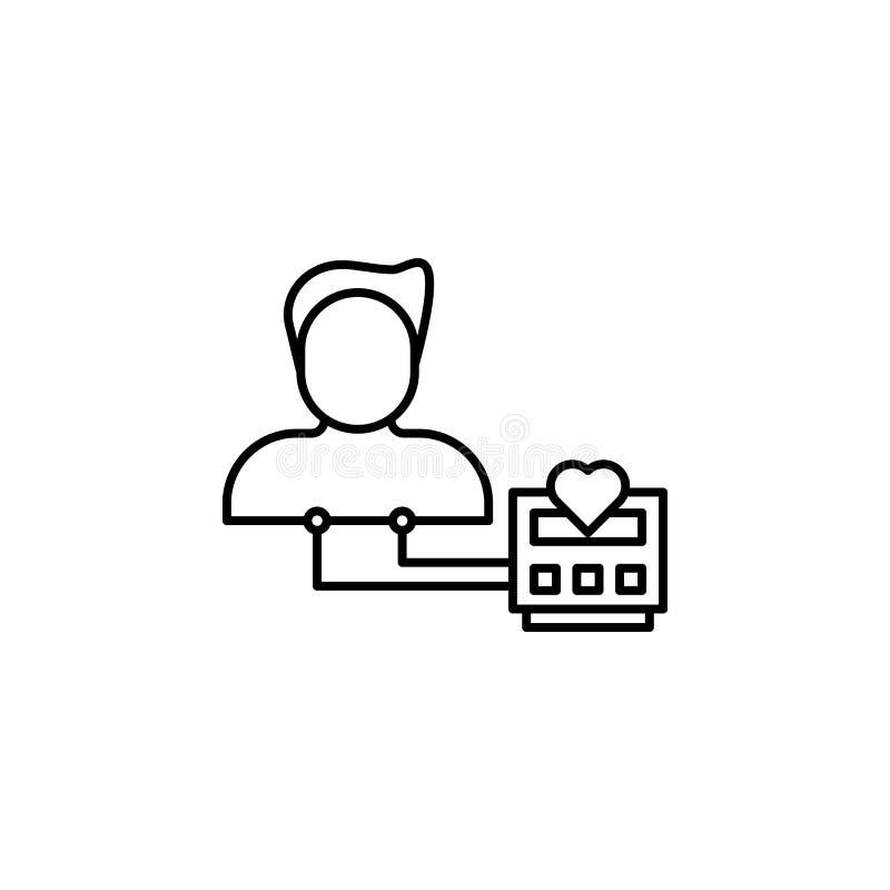 Doenças, vetor do monitor da frequência cardíaca Dores do músculo, frio e bronquite, pneumonia e febre, ilustração médica da saúd ilustração do vetor