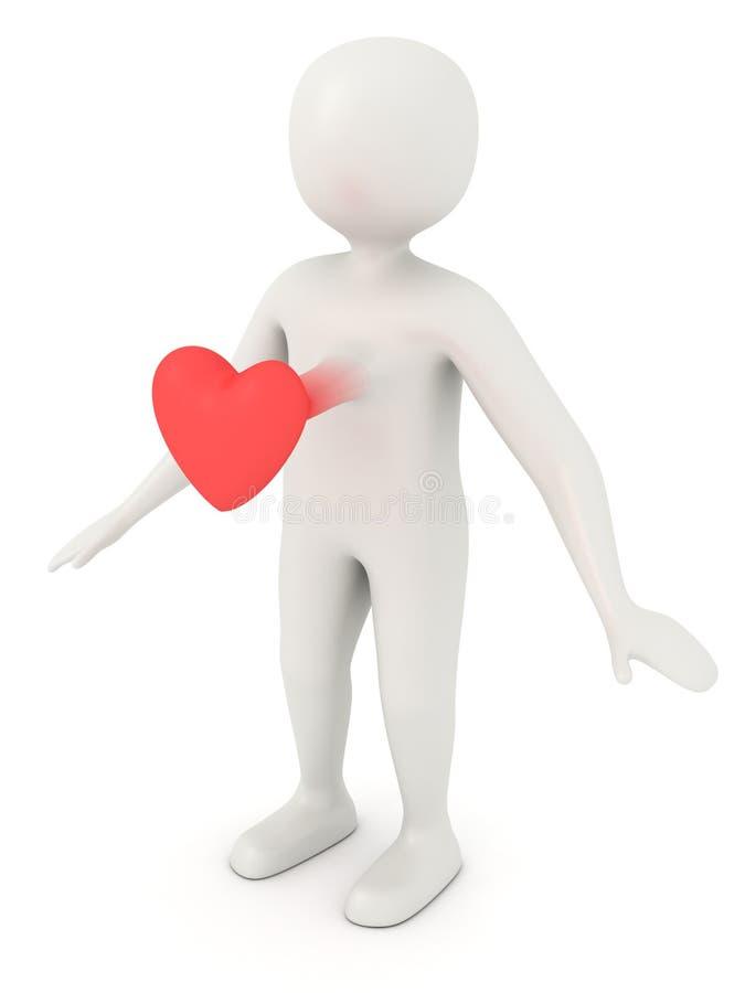 Doen schrikken 3d man hart vector illustratie