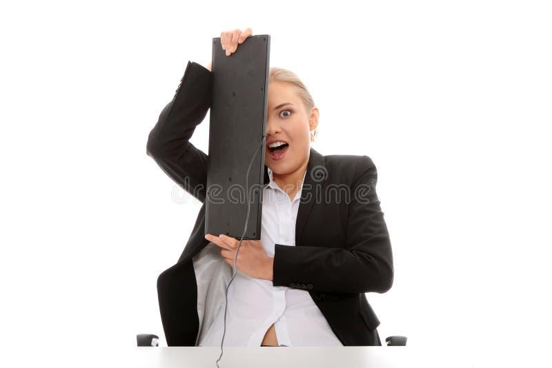 Doen schrikken bedrijfsvrouw stock fotografie