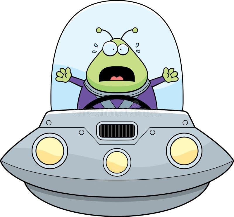 Doen schrikken Beeldverhaal Vreemd UFO vector illustratie