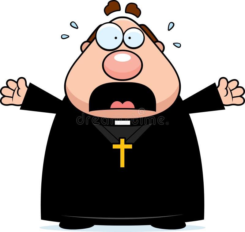 Doen schrikken Beeldverhaalpriester royalty-vrije illustratie
