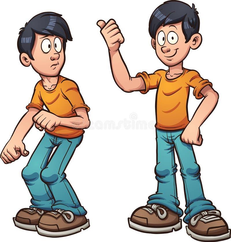 Doen schrikken en gelukkige jongen stock illustratie