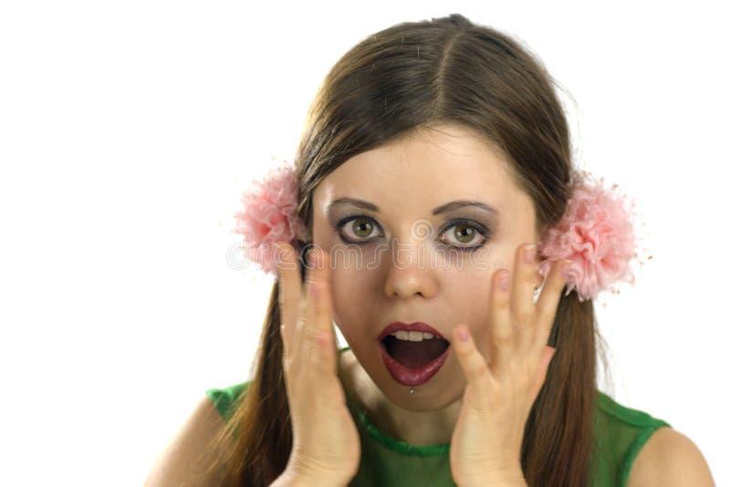Doen schrikken jonge vrouw stock foto's