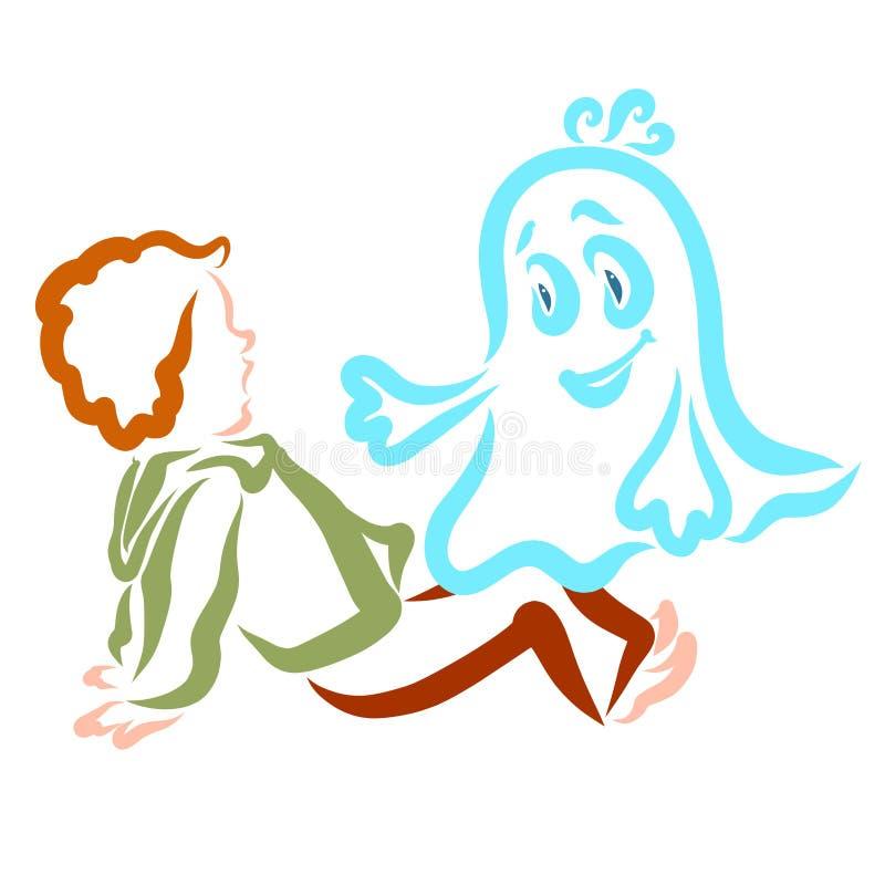 Doen schrikken jongen en weinig vrolijk spook, contour stock illustratie