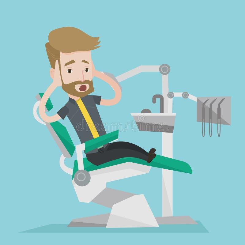 Doen schrikken patiënt in tandstoel vectorillustratie royalty-vrije illustratie