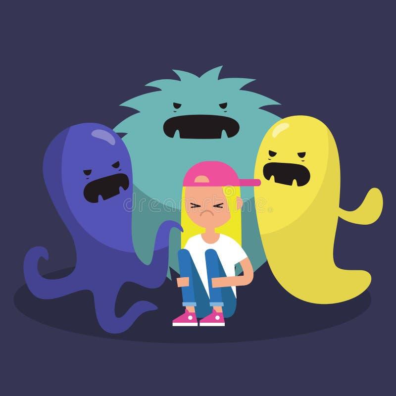 Doen schrikken vrouwelijk die karakter door lelijke monsters/vlak wordt omringd edita vector illustratie
