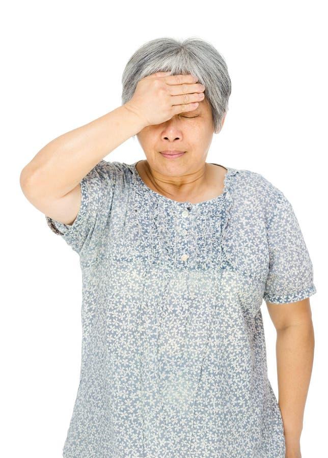 Doente asiático superior da sensação da mulher fotos de stock