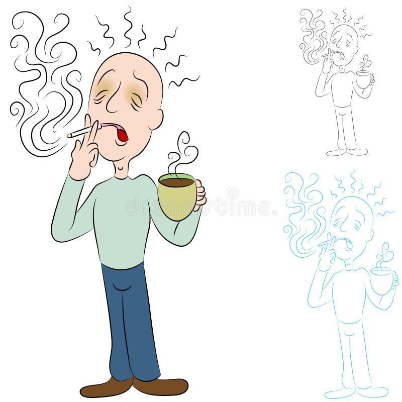 Doente do café e dos cigarros ilustração do vetor