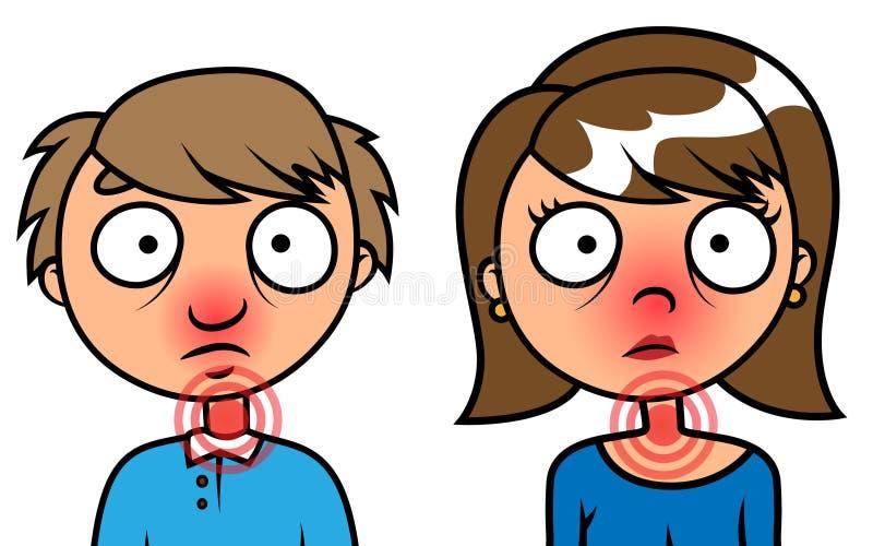 Doente do homem e da mulher com gripe ilustração do vetor
