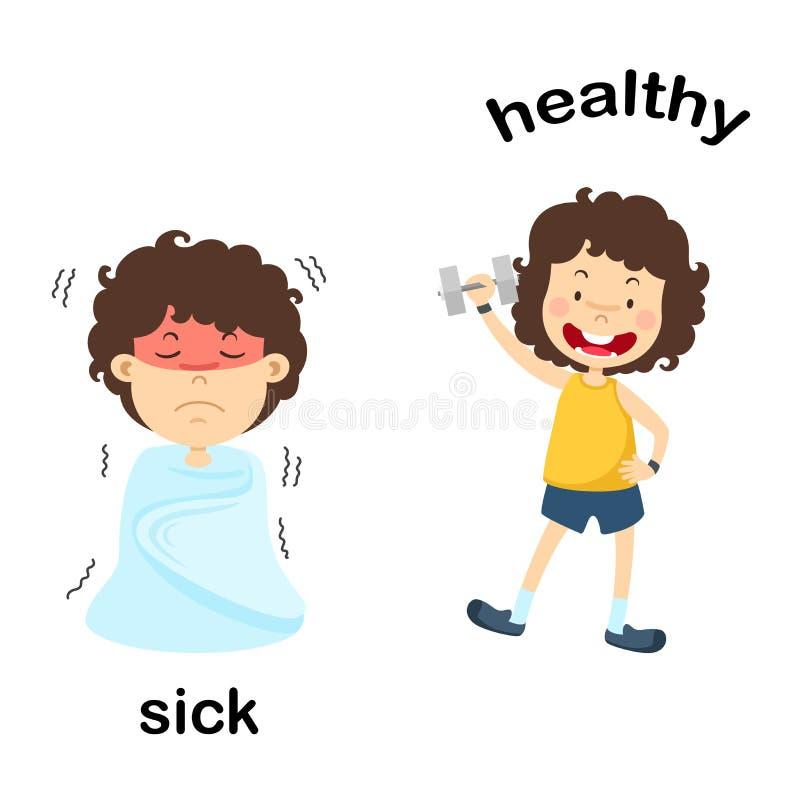 Doente e saudável opostos ilustração royalty free