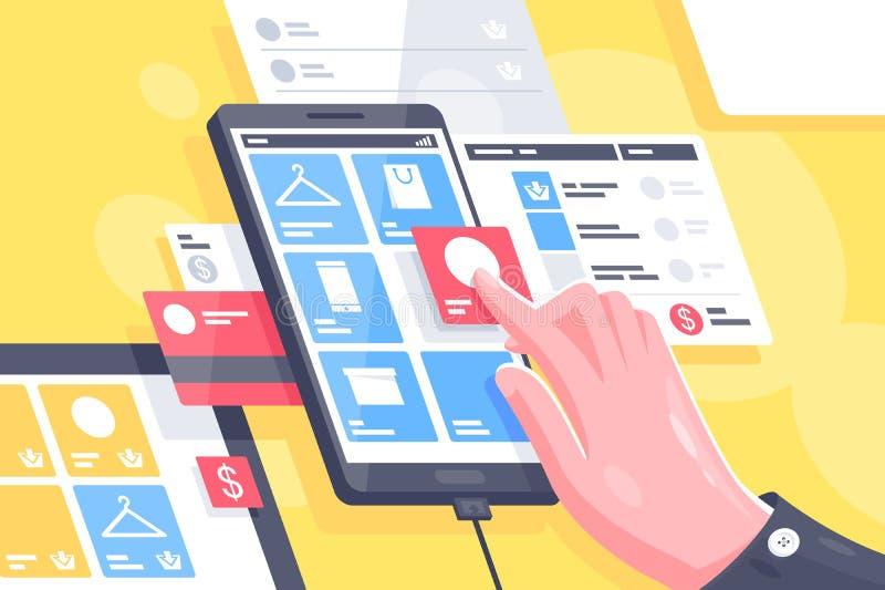 Doet de vlak geïsoleerde hand met online mobiele interface het winkelen stock illustratie