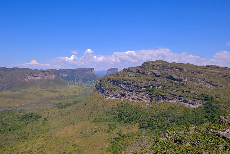 Doet het Nationale het Parklandschap van Chapadadiamantina met Morro Do Morrao berg, mening van Morro Pai Inacio, Lencois, Brazil royalty-vrije stock foto