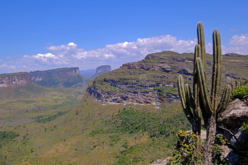 Doet het Nationale het Parklandschap van Chapadadiamantina met Morro Do Morrao berg, mening van Morro Pai Inacio, Lencois, Brazil royalty-vrije stock fotografie