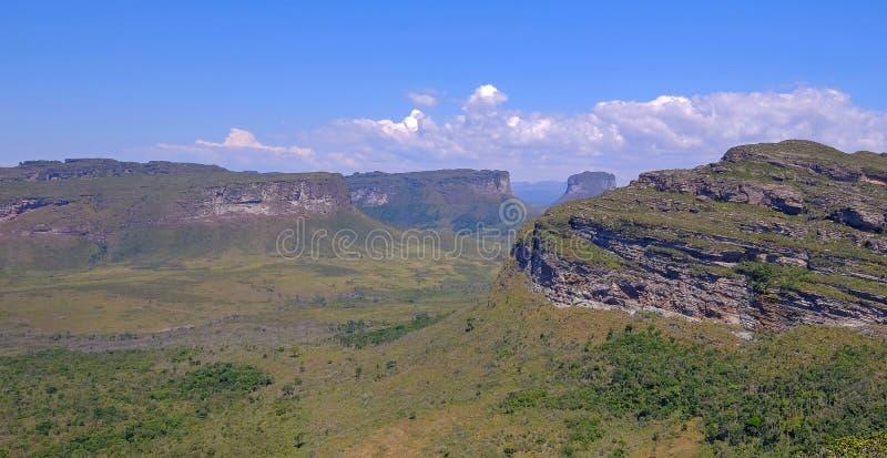 Doet het Nationale het Parklandschap van Chapadadiamantina met Morro Do Morrao berg, mening van Morro Pai Inacio, Lencois, Brazil stock fotografie
