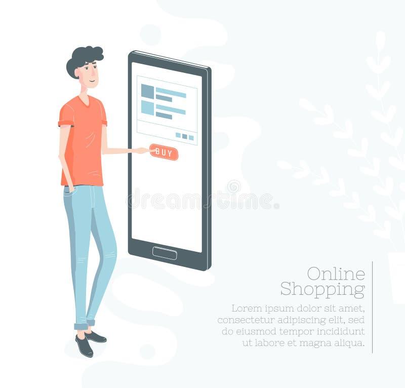 dof καρτών αγορές χεριών εστίασης ρηχές on-line πολύ Ο τύπος αγοράζει μέσω του κινητού τηλεφωνικού Τύπου το κουμπί έννοια μ -μ-co απεικόνιση αποθεμάτων