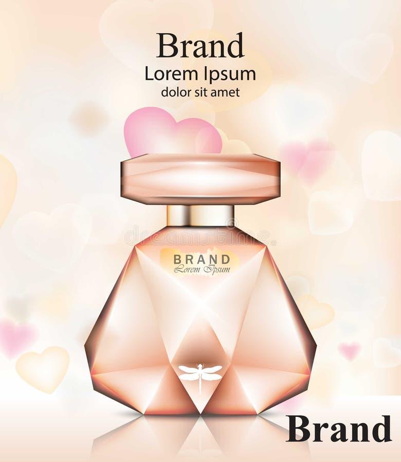 Doft för rosor för doftflaska delikat Realistisk åtlöje för förpackande design för vektorprodukt ups royaltyfri illustrationer