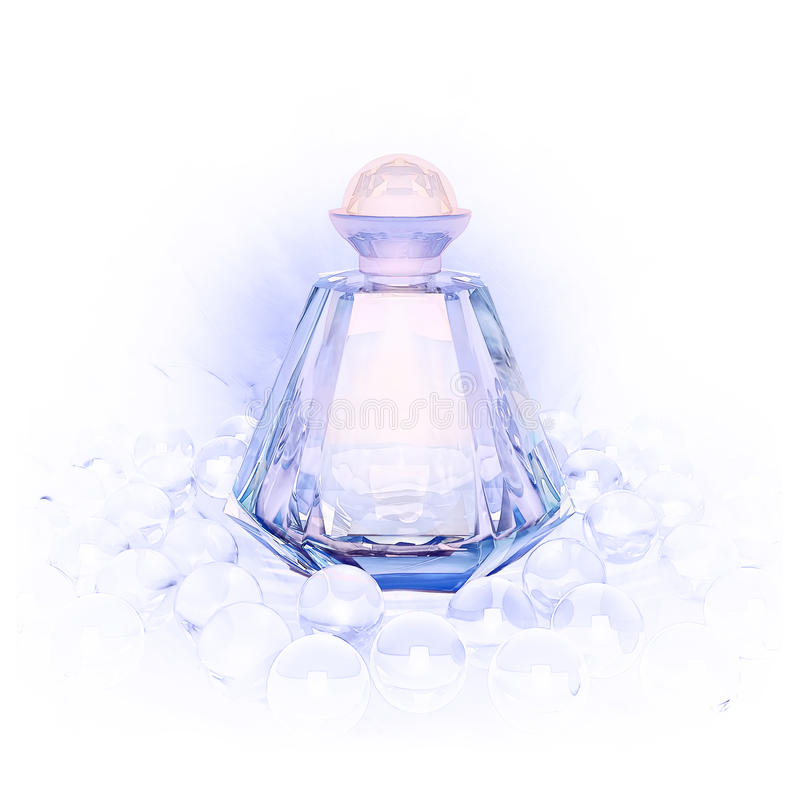 Doft i glasflaskor och pärlan pryder med pärlor på vit royaltyfria foton