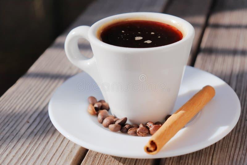 Doftande kaffe i morgonsolen arkivbilder