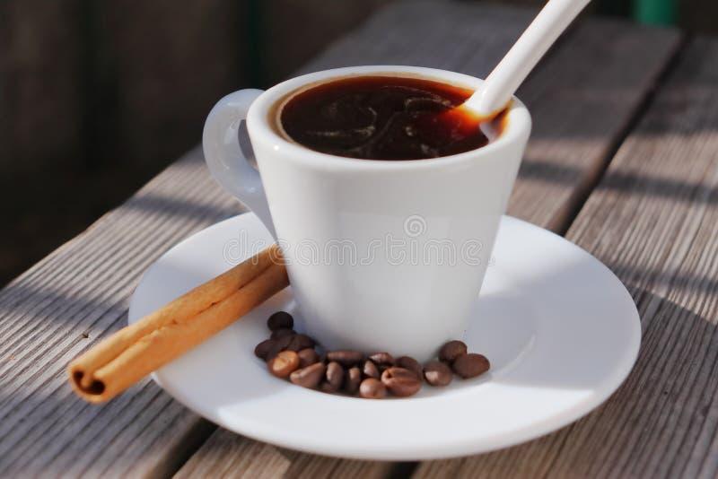 Doftande kaffe i morgonsolen arkivfoton