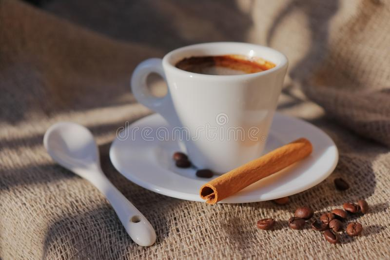 Doftande kaffe i morgonsolen arkivbild
