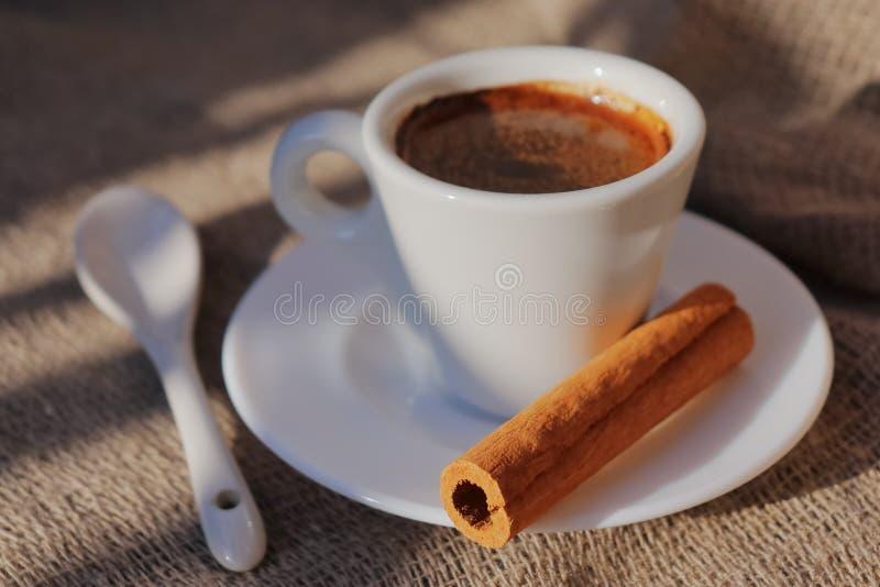 Doftande kaffe i morgonsolen royaltyfri foto