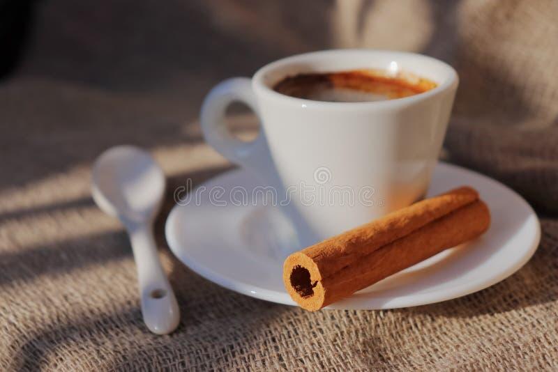 Doftande kaffe i morgonsolen fotografering för bildbyråer