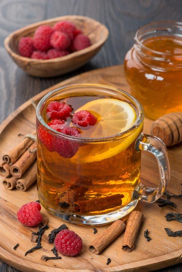 Doftande svart te med citronen, hallonet och kanel arkivfoton