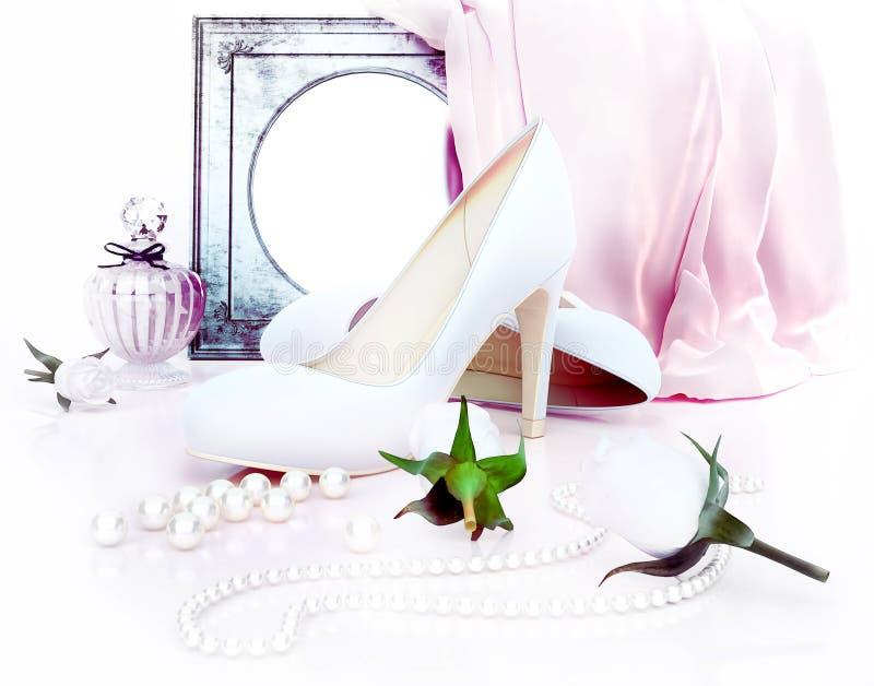 Doftflaska, höga häl, mirorr, rosor och pärlor som lokaliseras på arkivfoton