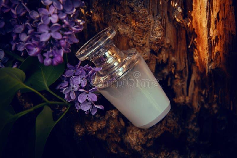 Doftflaska med kvisten av lilan royaltyfria bilder