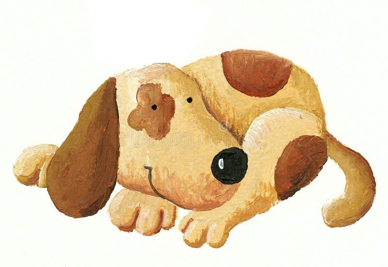 Dog. Acrylic Illustration of cute dog
