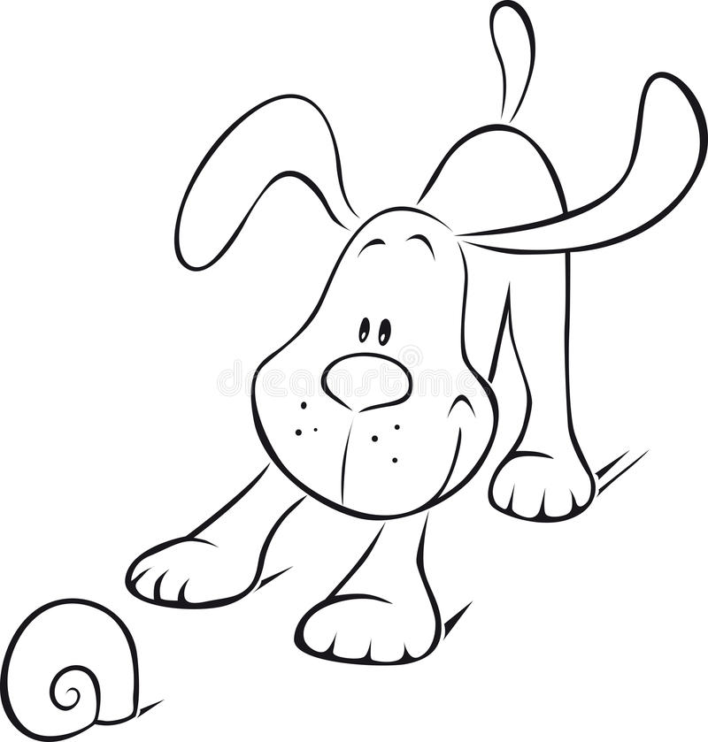 Download Dog stock vector. Image of cute, background, snail, drawing - 26579726