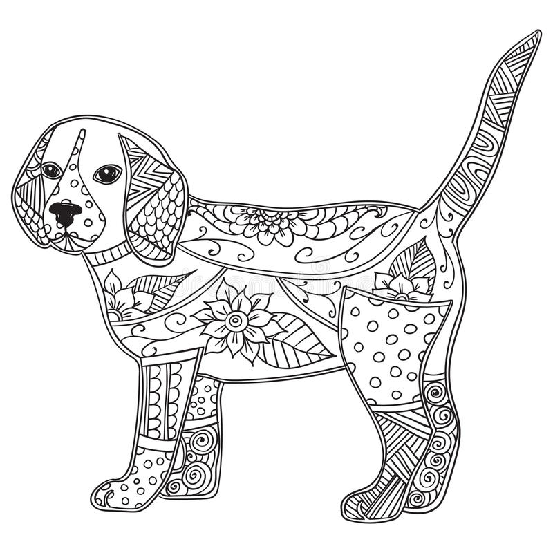 Download Dog Adult Antistress Or Children Coloring Page Stock Vector