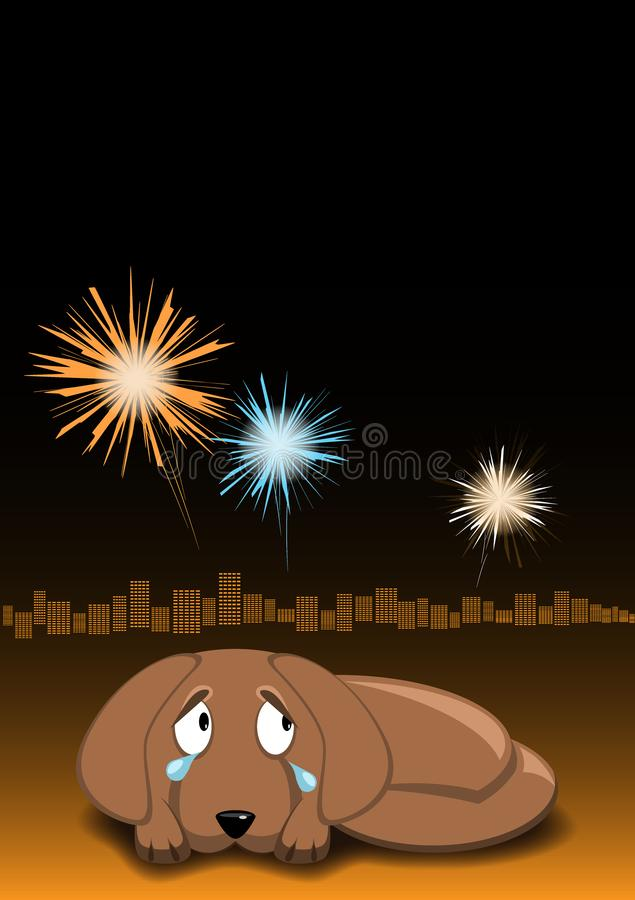 Dog is afraid of fireworks and crying. Dogs afraid din sounds. Night sky, fireworks and city lights on background. Vector image royalty free illustration