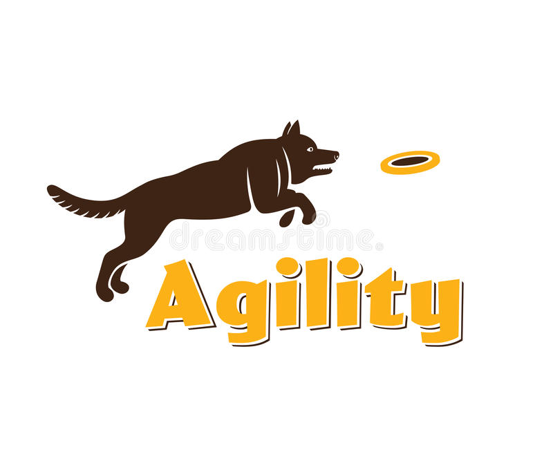 Dog agility logotype. Dog silhouette on white background. Agility dog for your design. royalty free illustration