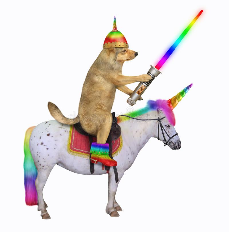 Dog alien rides the unicorn. The dog alien in a helmet and rainbow boots with a glowing sword is riding the unicorn. White background. Isolated royalty free stock photography