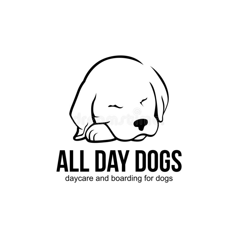 Dog animal pet shop logo design. This is a dog design illustration and is perfect for a shop company royalty free illustration