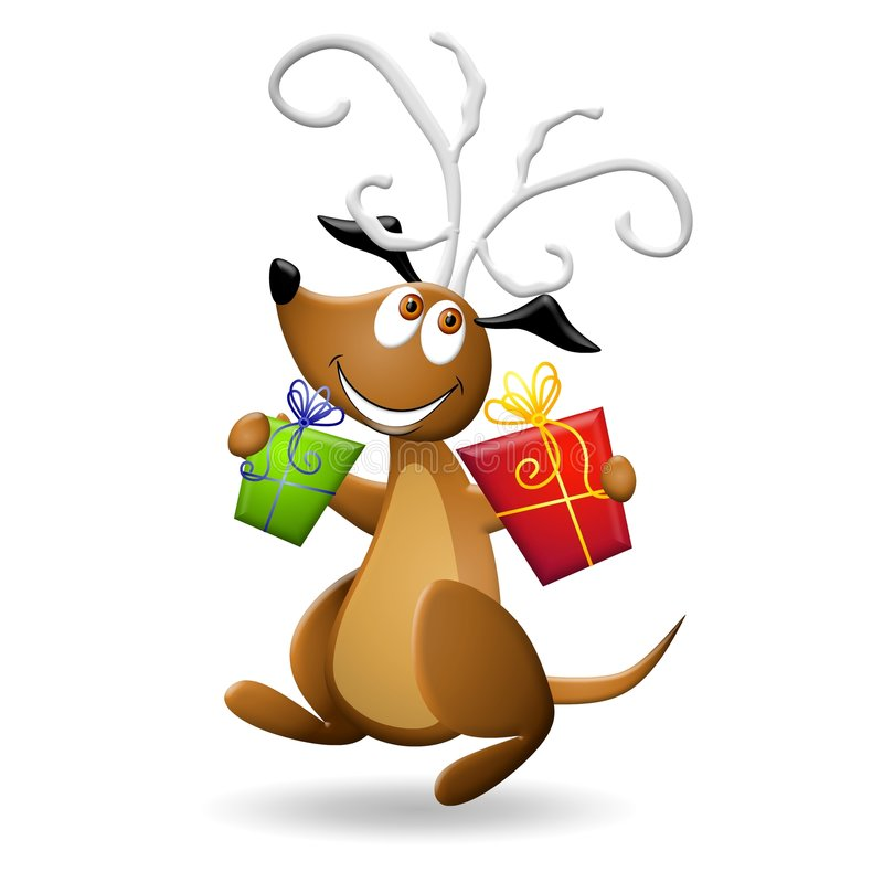 Dog With Antlers and Gifts. An illustration featuring a happy smiling dog holding Christmas gifts and jumping along wearing reindeer antlers vector illustration