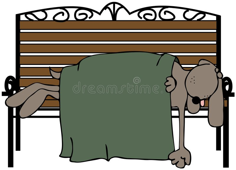 Dog Asleep On A Bench royalty free illustration