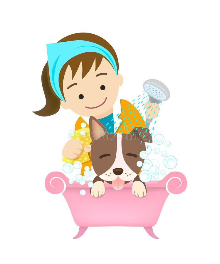 dog att ansa tvättande husdjur badning vektor illustrationer