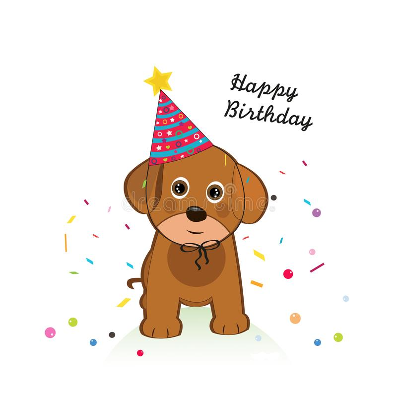 Dog with balloon and confetti. Happy birthday greeting card. Background royalty free illustration