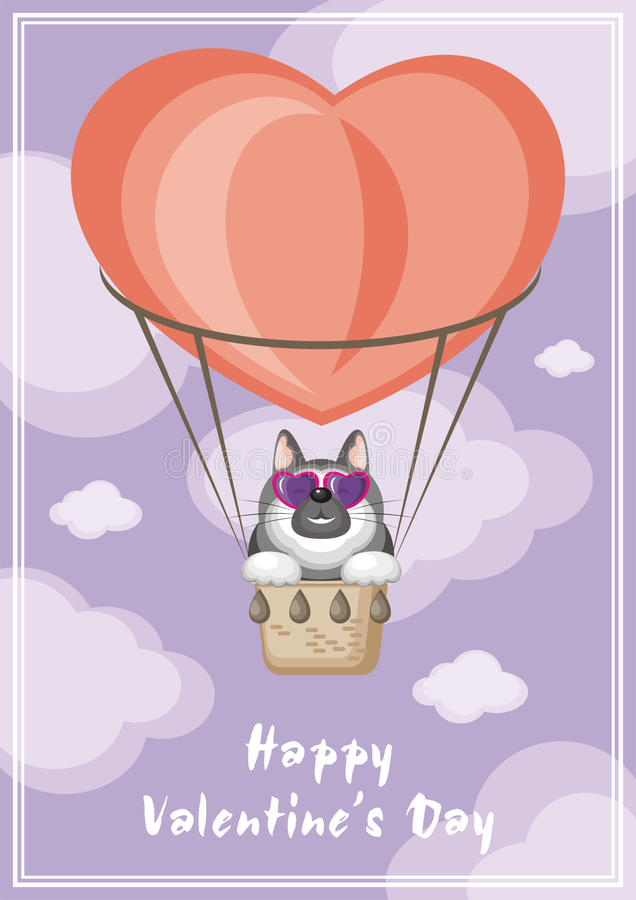 Dog and balloon. Greeting card happy Valentine`s day. Funny animal flying in a hot air balloon stock illustration
