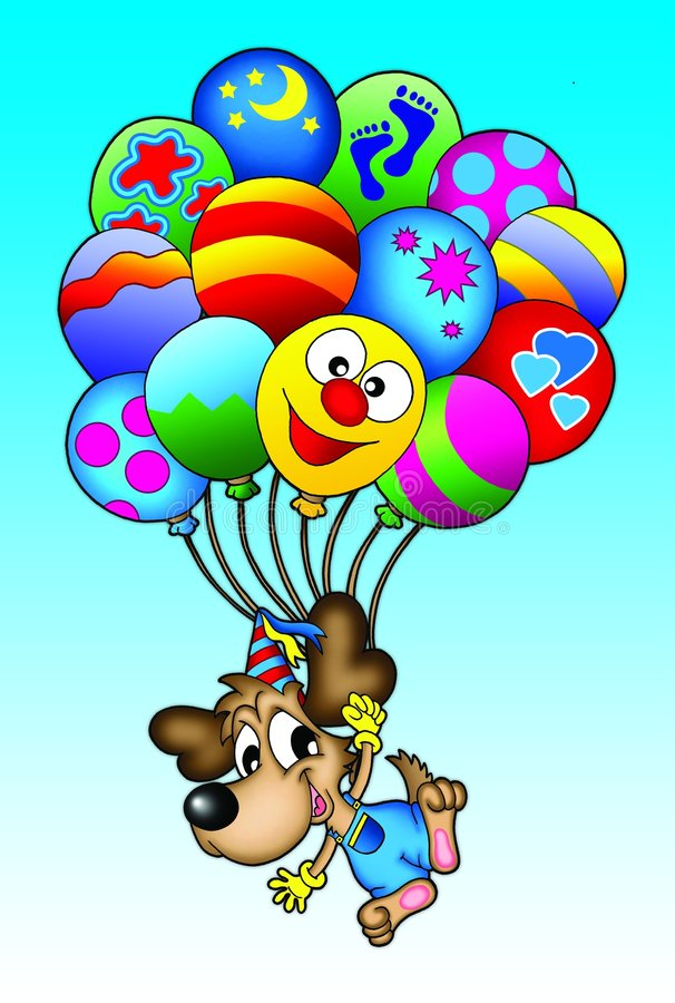 Dog with balloons. Illustation of dog flying with ballons royalty free illustration