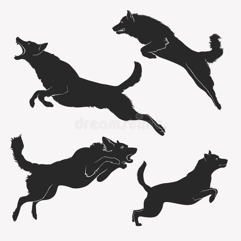 dog banhoppningen aktiva hundar En uppsättning av banhoppninghundkapplöpning royaltyfri illustrationer