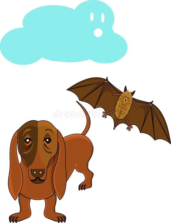 Dog And Bat Royalty Free Stock Photo