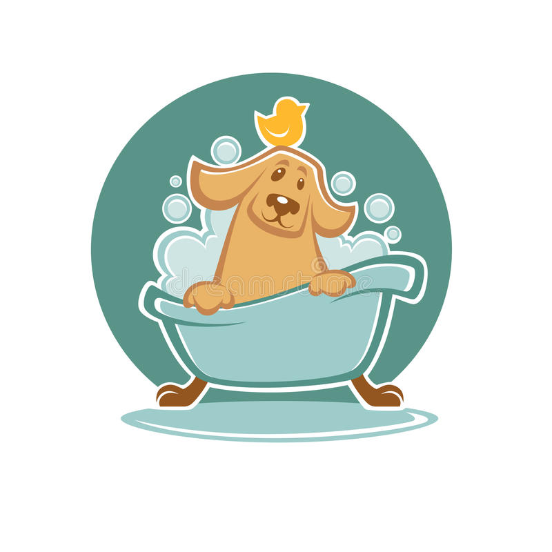 Dog in bath. Wash your pet, funny cartoon dog taking a bath in bathtube stock illustration