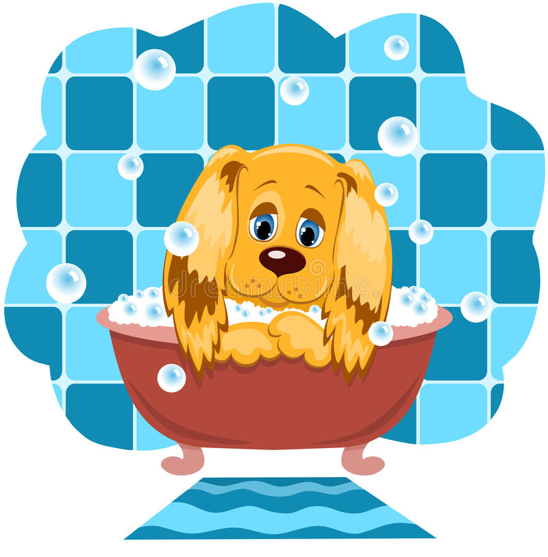 Download The dog bathes. stock vector. Illustration of hound, drawing - 16132197