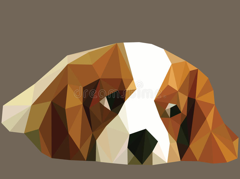 Dog beagle. Beagle dog are lonely in low polygon stock illustration