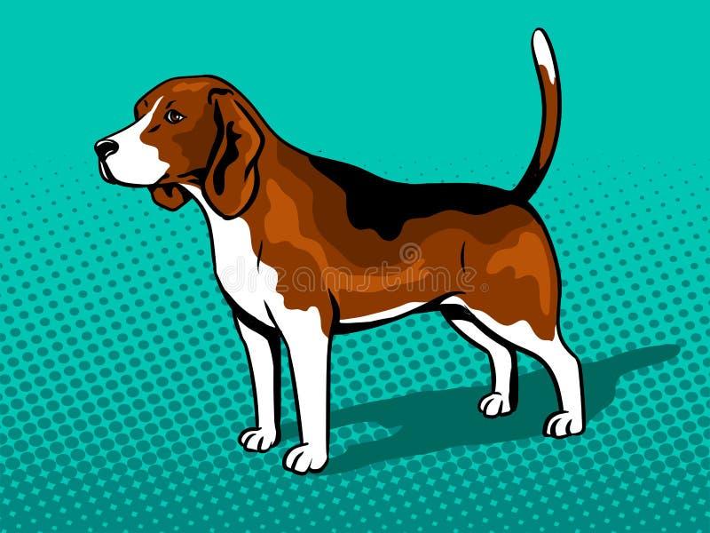 Dog Beagle pop art style vector illustration. Dog Beagle pop art retro vector illustration. Comic book style imitation royalty free illustration