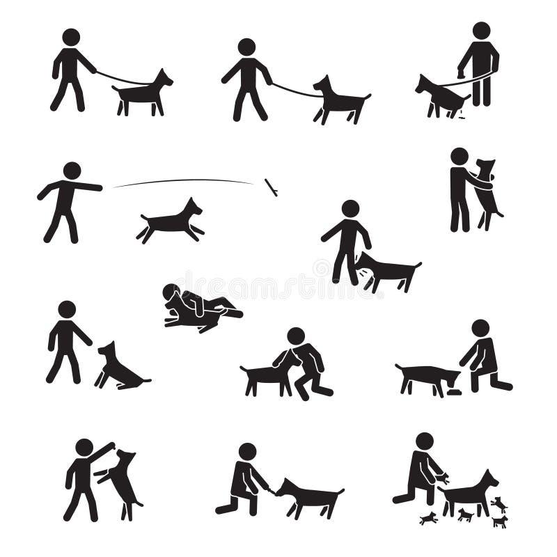 Dog big breeds with men icon set. Vecor. vector illustration